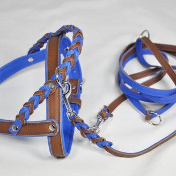 Ledergeschirr geflochtener Griff blau braun